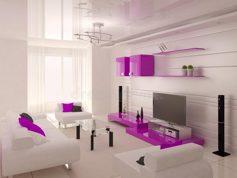 Супер современная живущая комната с функциональной мебелью в стиле высок-техника бесплатная иллюстрация