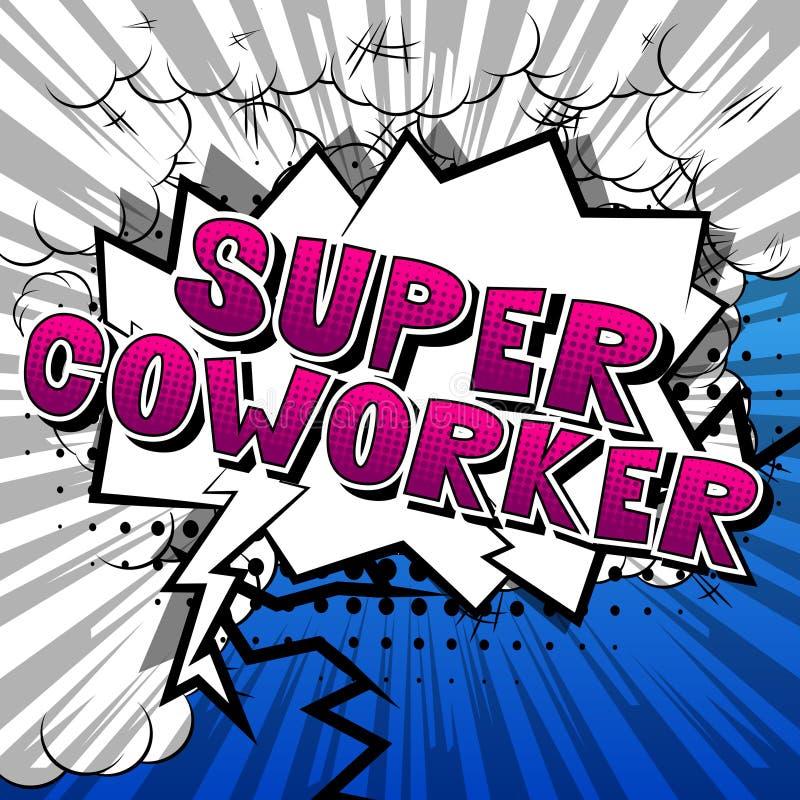 Супер сотрудник - слова стиля комика иллюстрация вектора