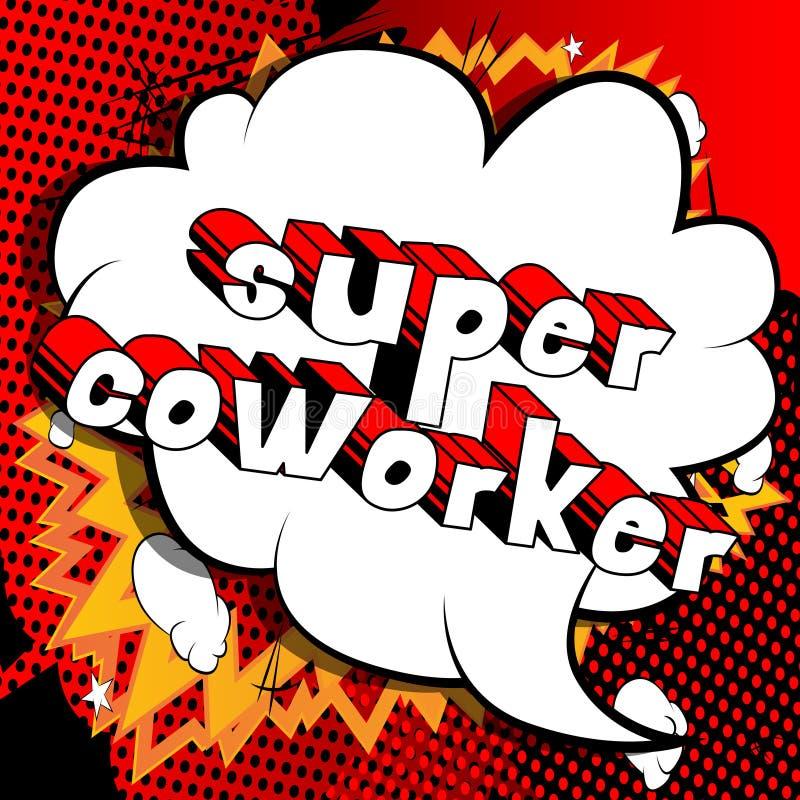 Супер сотрудник - слова стиля комика иллюстрация штока