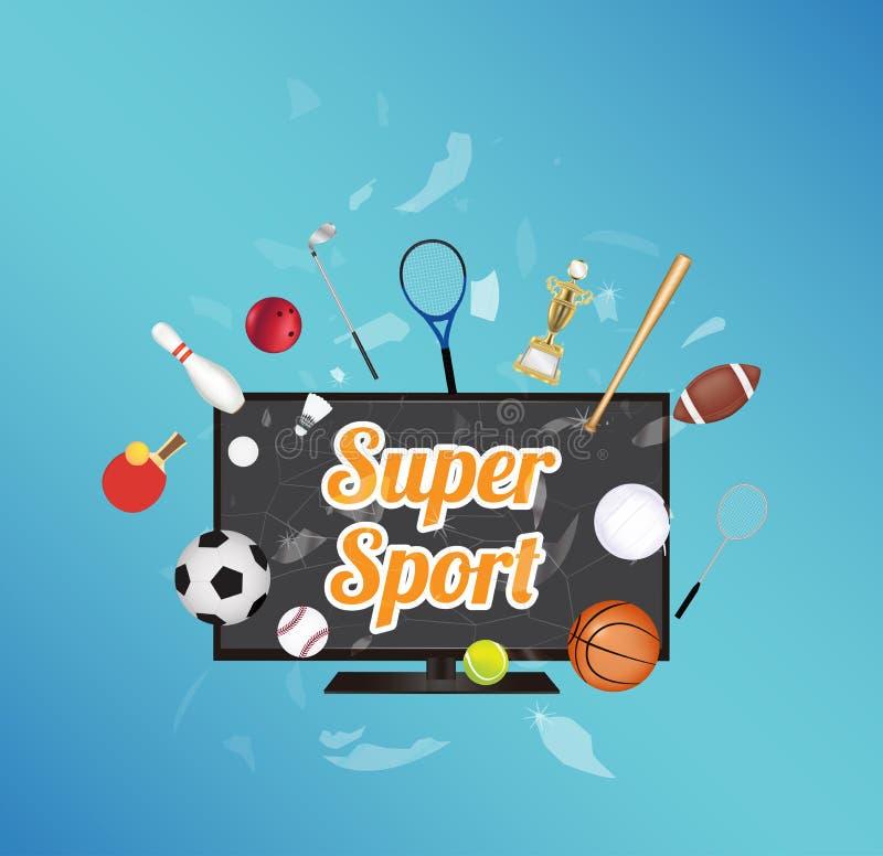 Супер спорт на умном экране телевизора при оборудование спорта плавая на взорванное умное телевидение бесплатная иллюстрация