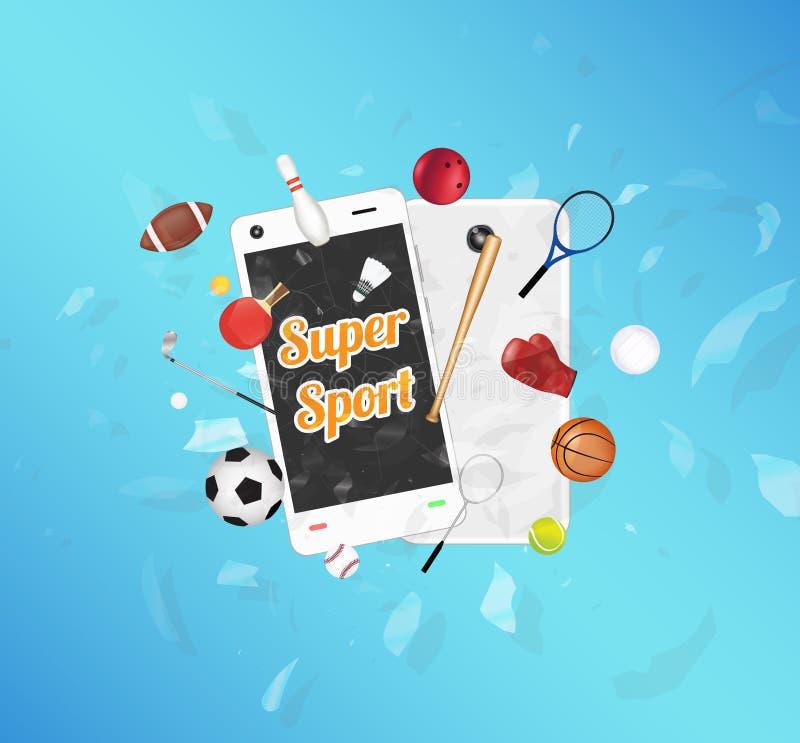 Супер спорт на экране smartphone при оборудование спорта плавая на взорванный smartphone бесплатная иллюстрация