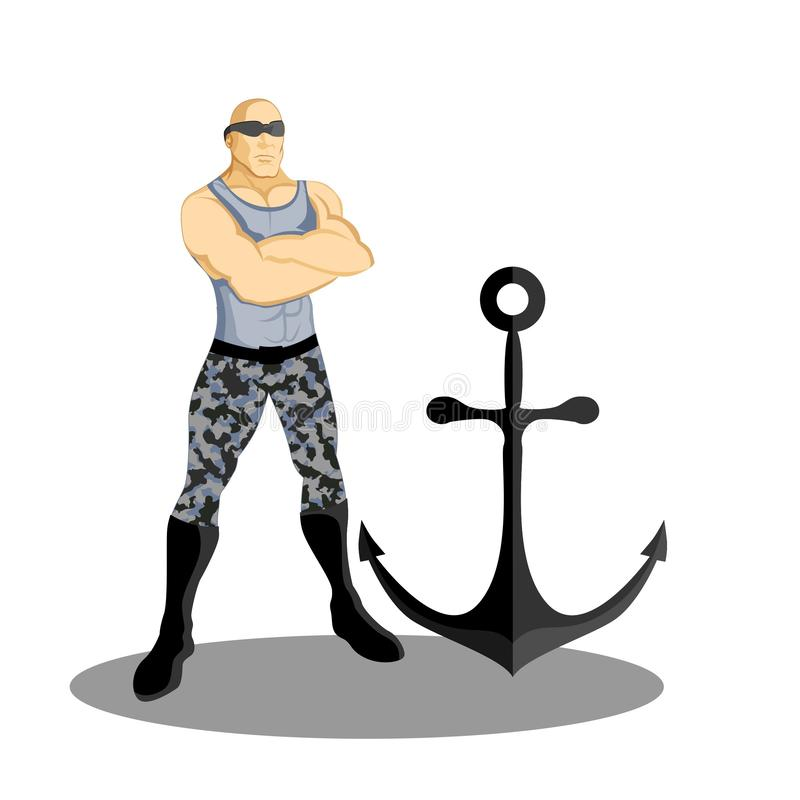 Супер талисман анкера военно-морского флота бесплатная иллюстрация