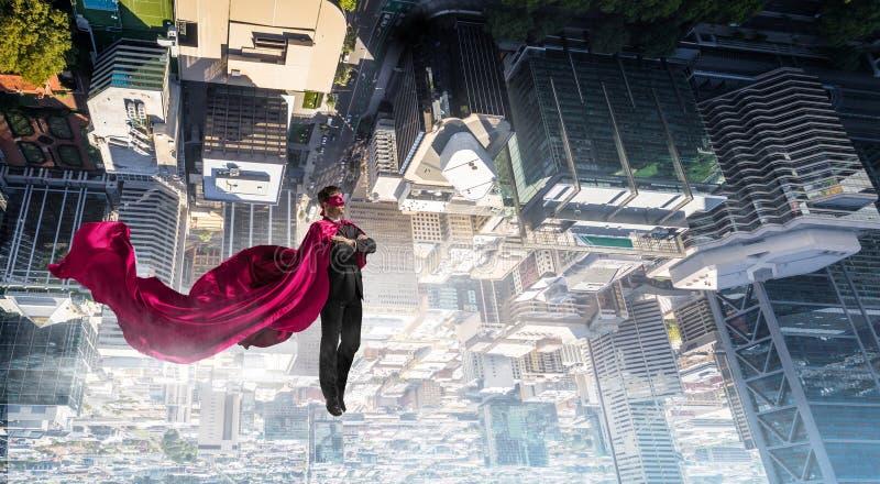Супер человек в небе стоковые фотографии rf