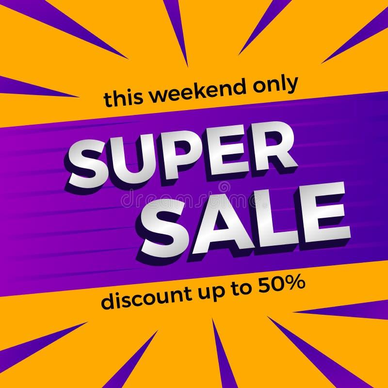 Супер шаблон знамени продажи в эти выходные только уценить до 50% с пурпурным и оранжевым цветом иллюстрация штока