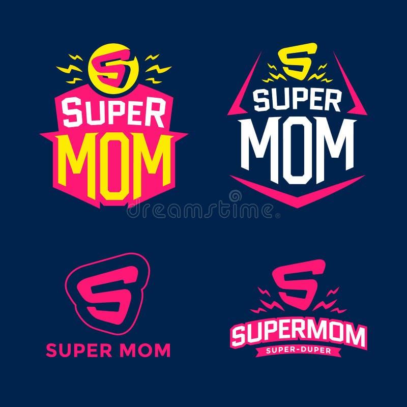Супер эмблема мамы бесплатная иллюстрация