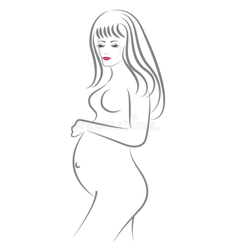 Супоросая женщина красотки иллюстрация вектора
