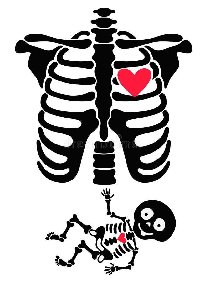 супоросо Смешные скелеты мама и младенец иллюстрация штока