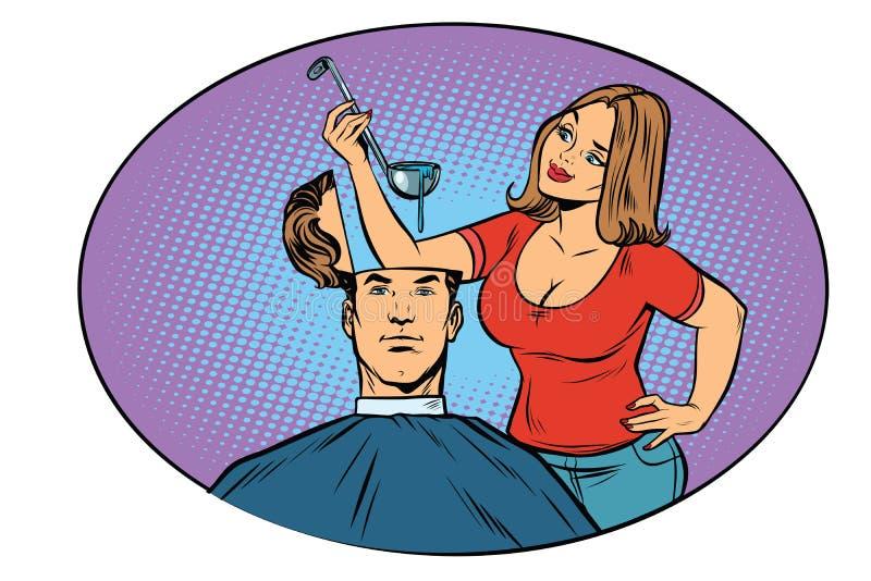 Супруг жены подготавливает суп в его голове бесплатная иллюстрация