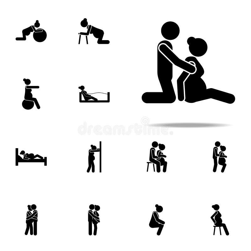супруг, значок беременной женщины Набор значков беременной женщины всеобщий для сети и черни иллюстрация штока