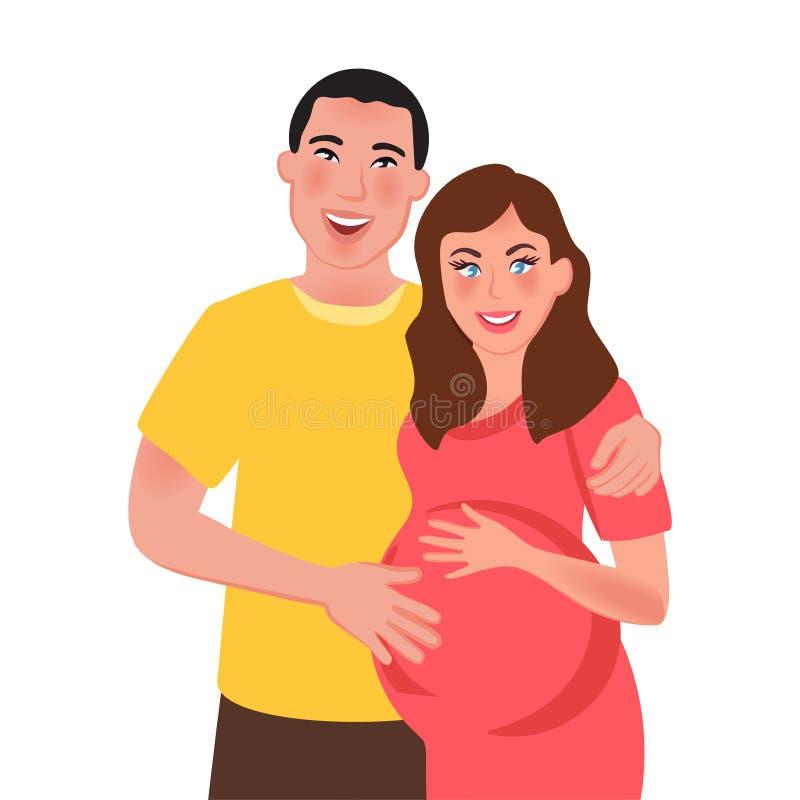 Супруг и беременная жена обнимая и усмехаясь Отношение семьи r также вектор иллюстрации притяжки corel иллюстрация штока