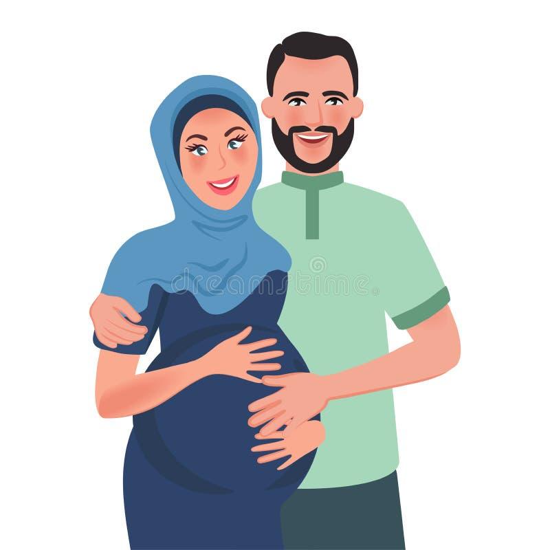 Супруг и беременные арабы жены обнимают и усмехаются Отношение семьи r также вектор иллюстрации притяжки corel иллюстрация вектора