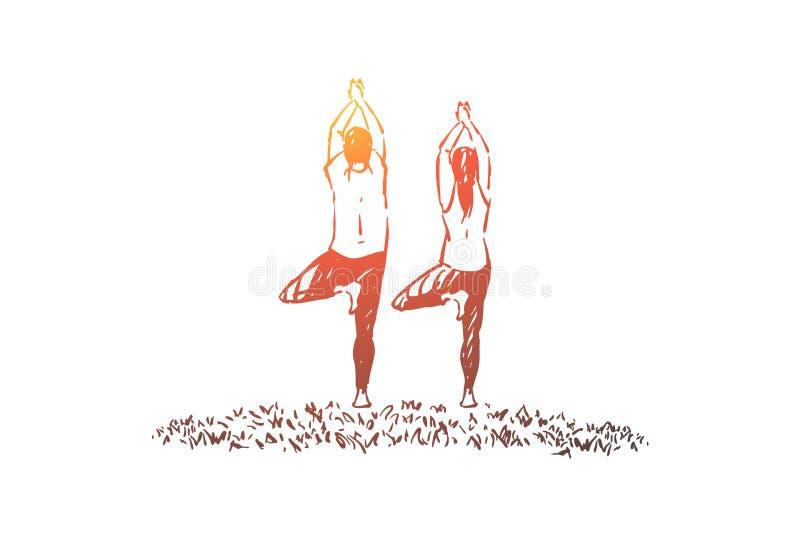 Супруг и жена в положении sportswear в позиции дерева, балансе и тренировке концентрации, разминке фитнеса иллюстрация вектора