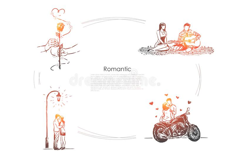 Супруг и жена на пикнике, человеке играя гитару, девушке и парне на дате, датируя знамя бесплатная иллюстрация