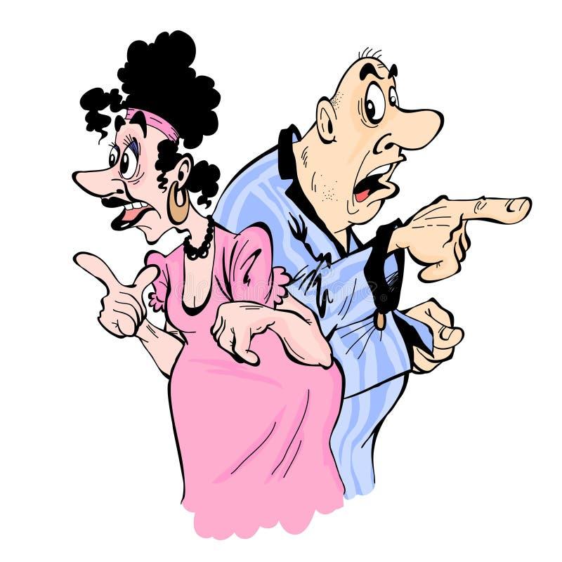 Супруг и жена показывают пальцы в различных направлениях иллюстрация вектора