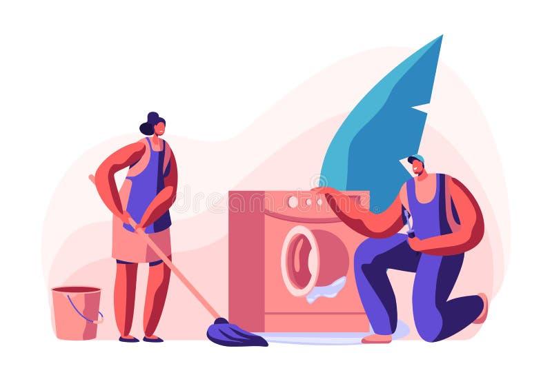 Супруг на час, характеры ремонтных услуг радостные мужские в равномерной деятельности с аппаратурами фиксируя сломленные методы д бесплатная иллюстрация