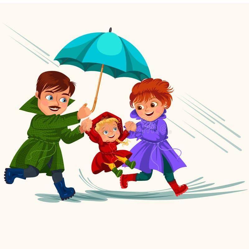 Супруг семьи и дождь жены идя с зонтиком в руках, дождевых каплях капая в лужицы, папе и маме держа младенца иллюстрация вектора
