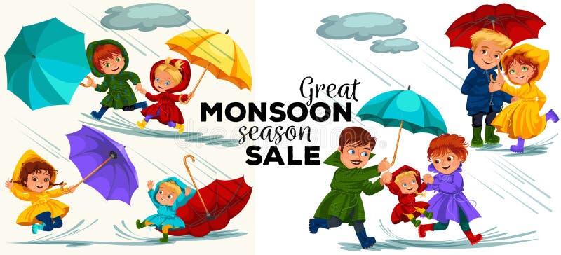 Супруг семьи и дождь жены идя с зонтиком в руках, дождевых каплях капая в лужицы, папе и маме держа младенца иллюстрация штока