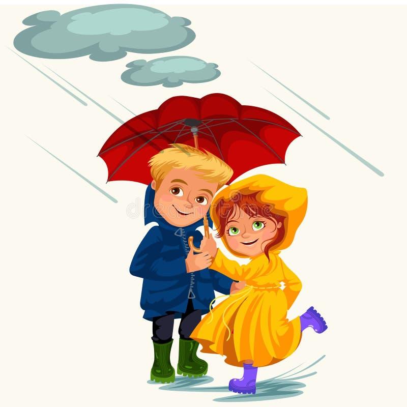 Супруг семьи и дождь жены идя с руками, дождевыми каплями капая в лужицы, человеком и женщиной зонтика водоустойчивыми бесплатная иллюстрация