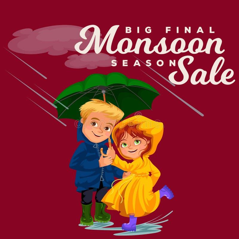Супруг семьи и дождь жены идя с руками, дождевыми каплями капая в лужицы, человеком и женщиной зонтика водоустойчивыми иллюстрация штока