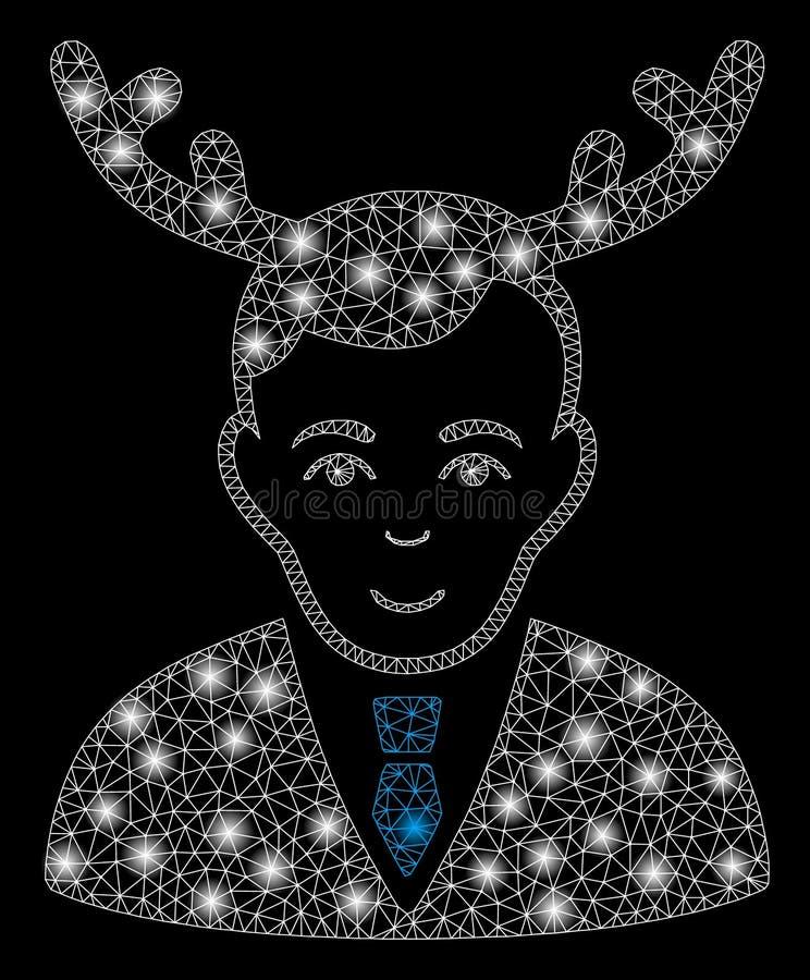 Супруг сетки пирофакела 2D Horned с засветками экрана иллюстрация вектора