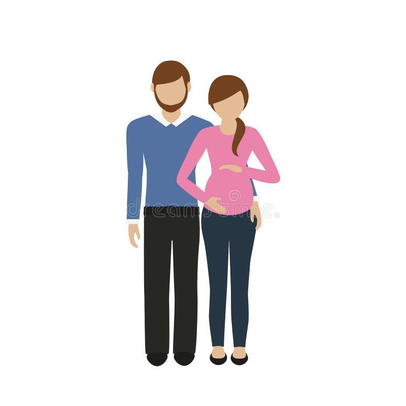 Супруг характера человека и женщины обнимает его беременную жену иллюстрация вектора