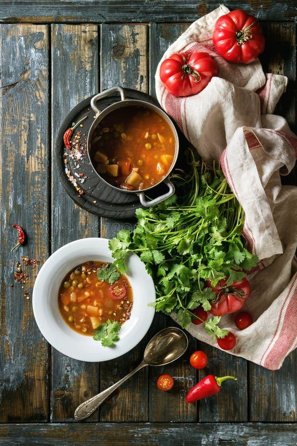 Суп гороха томата моркови стоковые изображения