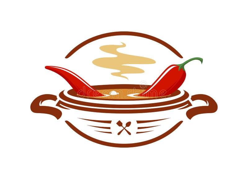 Суп горячего chili с значком вектора красного перца иллюстрация вектора