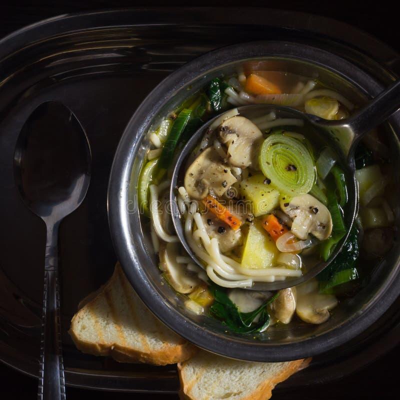 Суп гриба в металлической пластине на подносе стоковое изображение