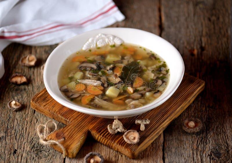 Суп гриба с картошками, морковами, луками и мясом цыпленка на старой деревянной предпосылке Деревенский тип стоковая фотография rf