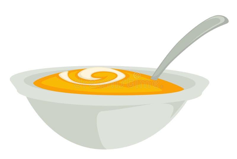 Суп или месиво тыквы в шаре с блюдом изолированным ложкой иллюстрация штока