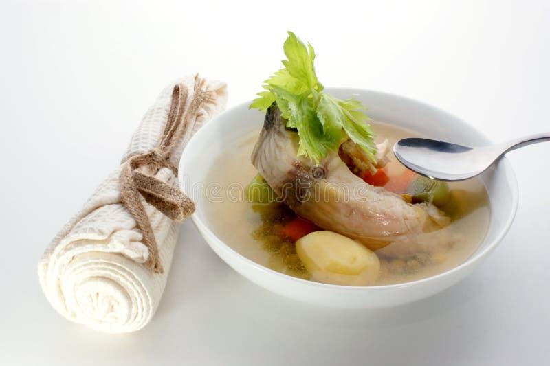 суп картошки трав рыб стоковая фотография rf