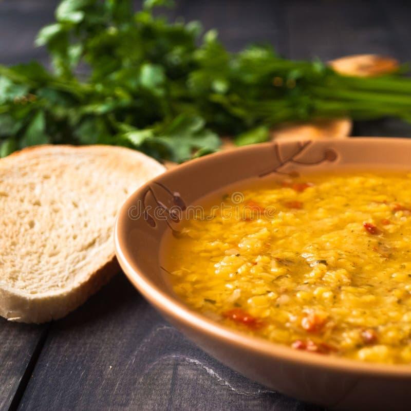 Суп красной чечевицы стоковое фото rf