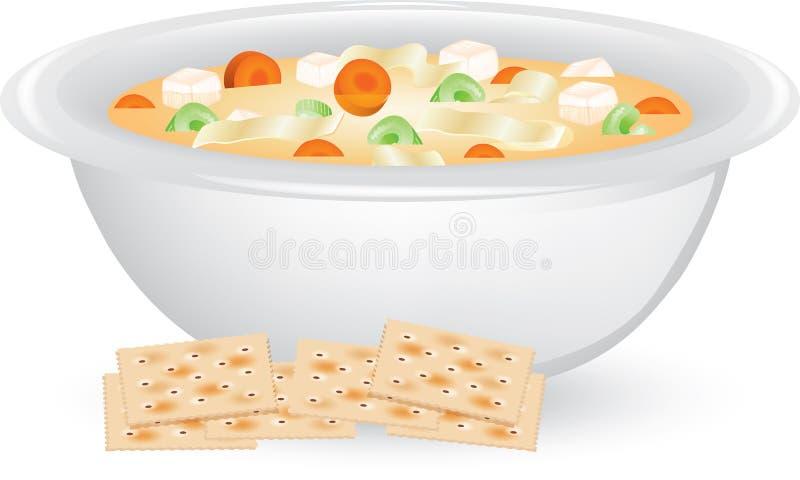 Суп лапши цыпленка иллюстрация штока