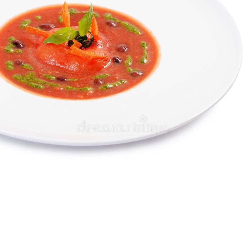 Суп от испеченных томатов с pesto стоковое изображение