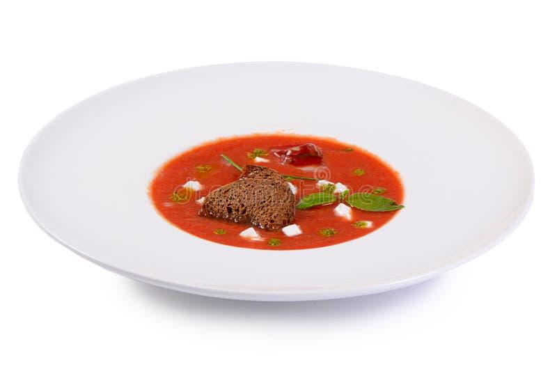Суп от испеченных томатов с pesto стоковое изображение rf
