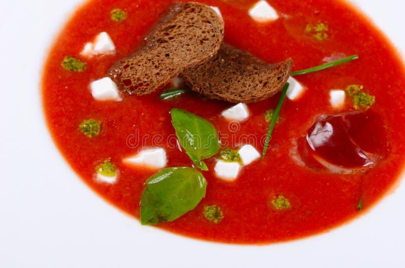 Суп от испеченных томатов с pesto стоковые изображения rf