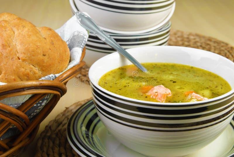 Суп рыб с семгами и овощами стоковое фото