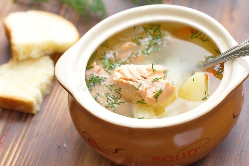 Суп рыб с семгами стоковое изображение