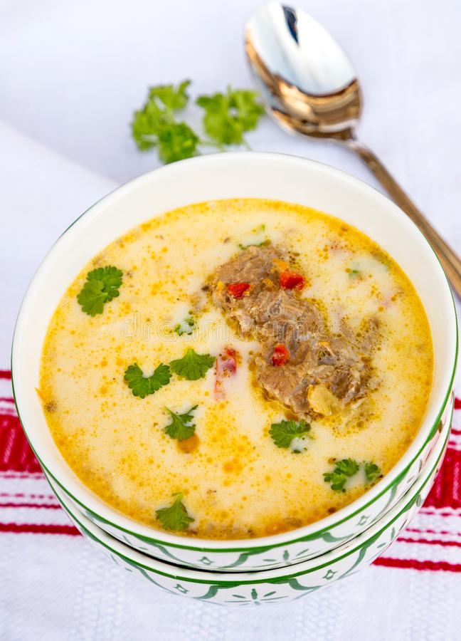 Суп свинины с сметаной стоковые фото