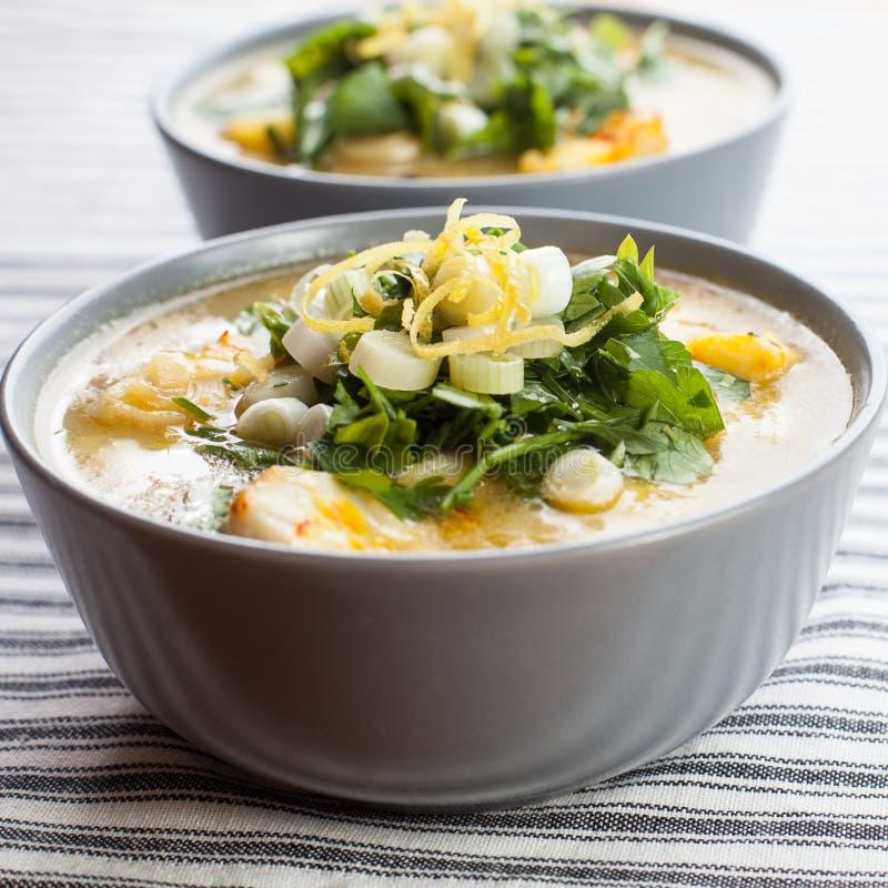 Суп трески и картошки стоковое изображение rf