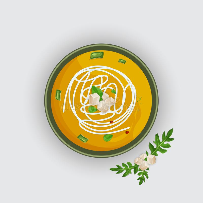 Суп тыквы на белой предпосылке иллюстрация вектора