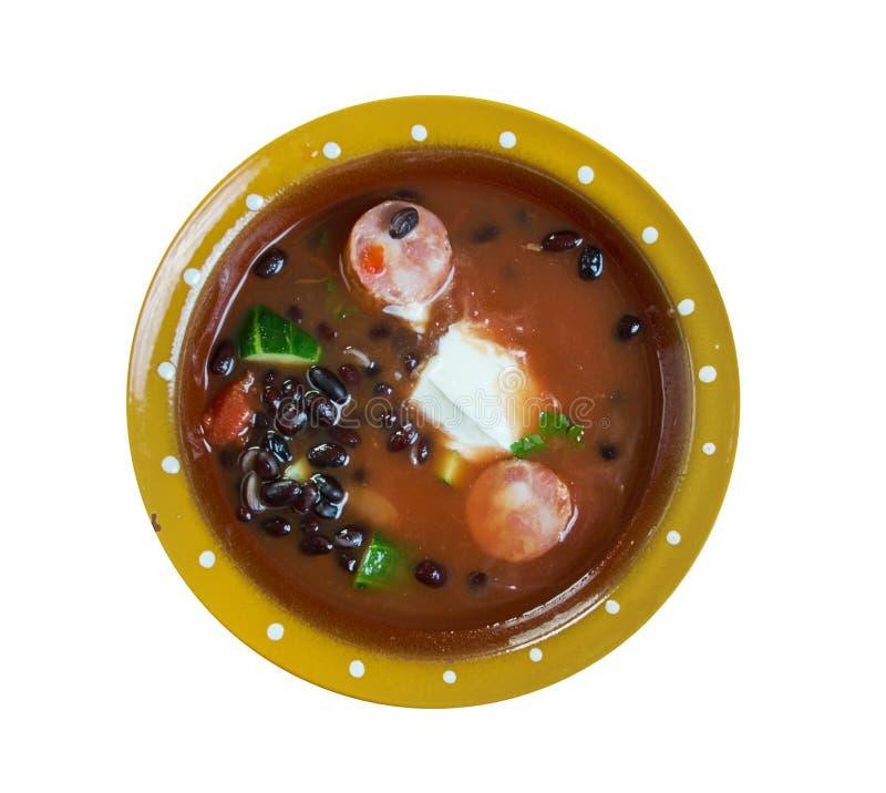 Суп черной фасоли с сосиской Cajun стоковое фото rf