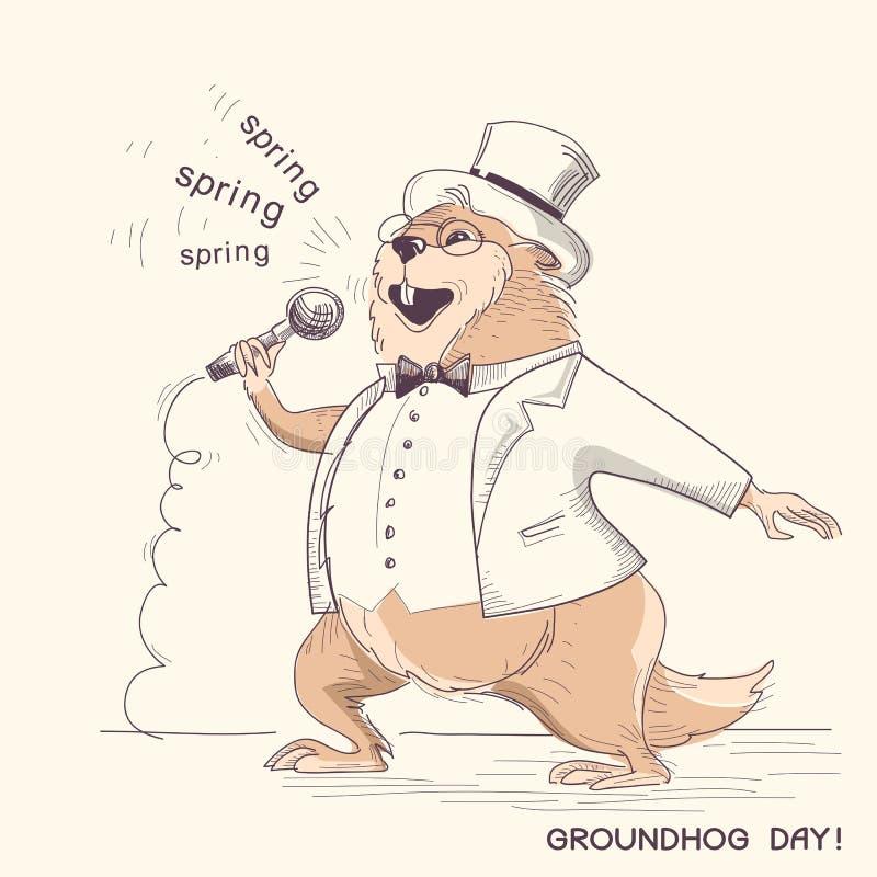 Сурок в одеждах джентльмена с микрофоном Holi дня Groundhog иллюстрация штока