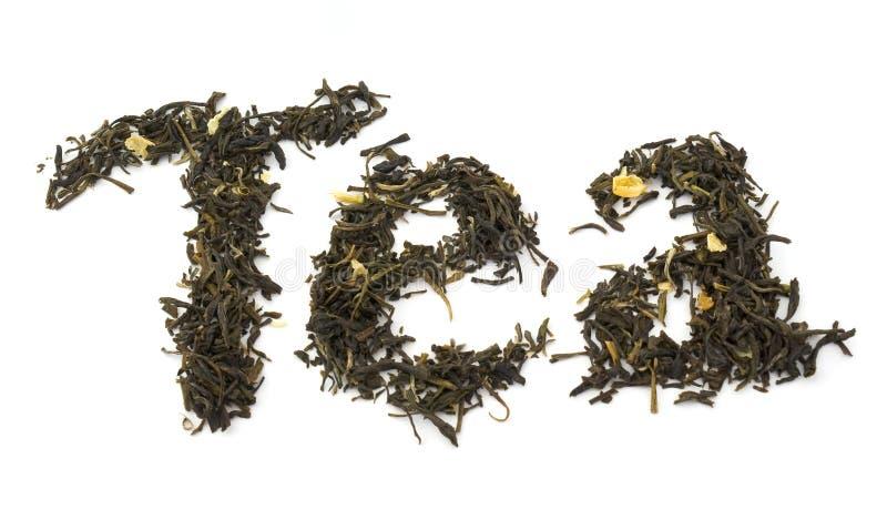 сухие листья жасмина сделали слово чая стоковое изображение rf