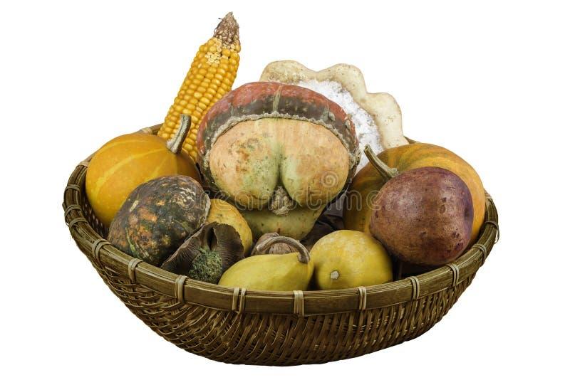 Сухие овощи и плодоовощи как украшение в корзине стоковое фото