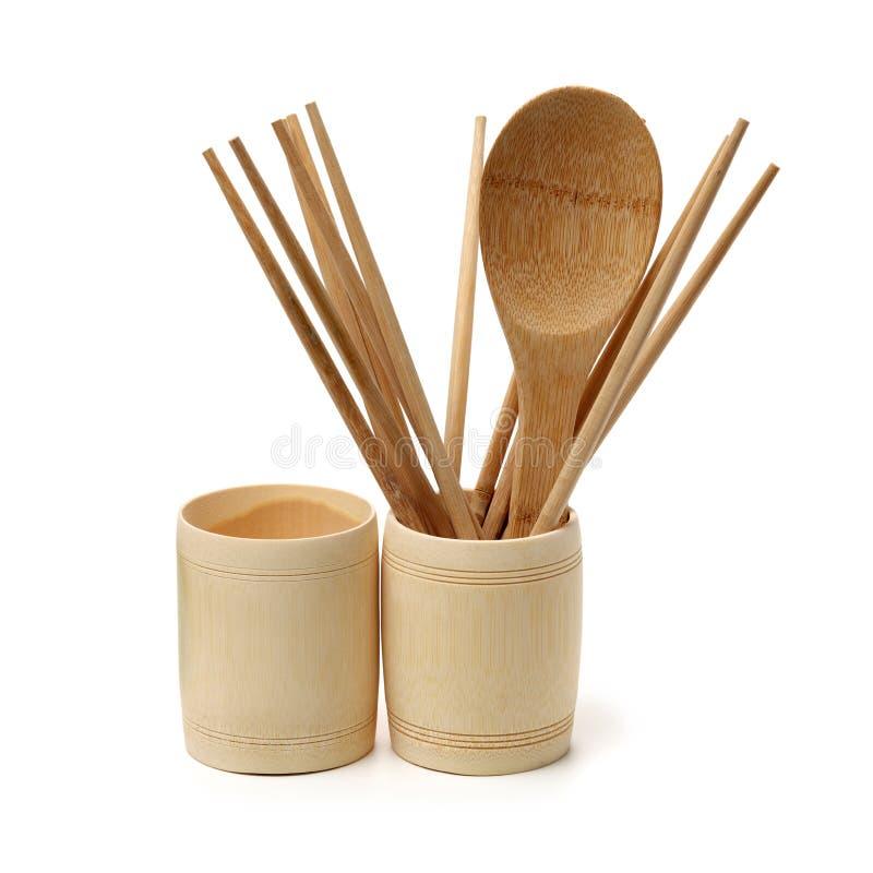 Сухое Hericium erinaceusWooden ложка, деревянная чашка и деревянные палочки стоковое изображение