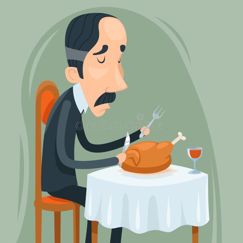 Сухопарый человек аристократа ест зажаренный в духовке цыпленк цыпленка с значком характера вина на стильном векторе дизайна шарж иллюстрация штока