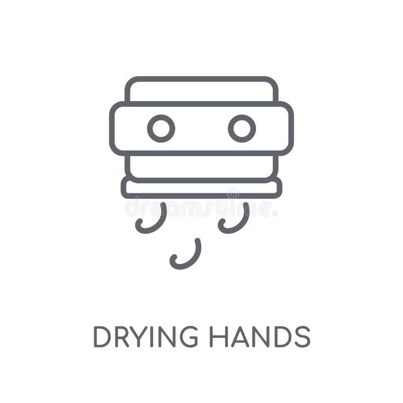 сушить значок рук линейный Современный план суша conce логотипа рук иллюстрация вектора