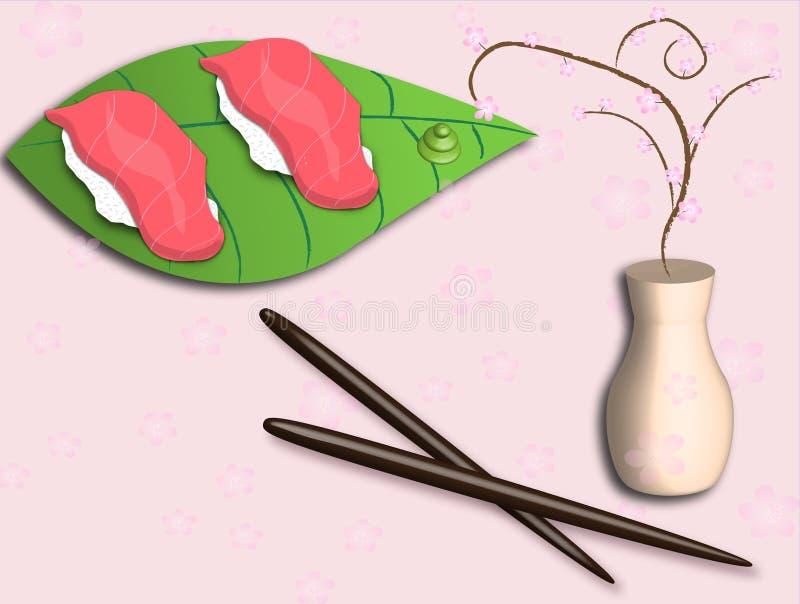 Download суши дисплея иллюстрация вектора. иллюстрации насчитывающей ваза - 10228931