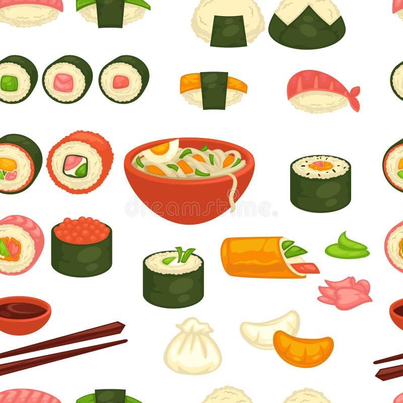 Суши и имбирь и wasabi картины японской кухни лапш безшовные бесплатная иллюстрация